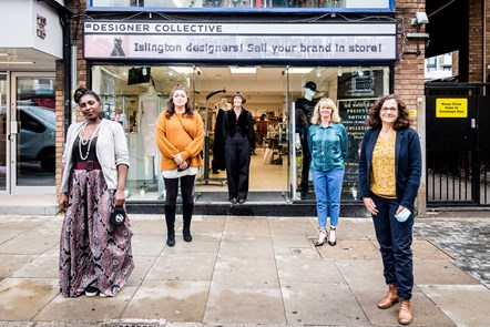 Designer-makers (from left) Marie Ikong Ehuy, Mary Obaseki and Rachel Kenyon with Fashion-Enter CEO Jenny Holloway and Cllr Asima Shaikh outside FC Designer Collective
