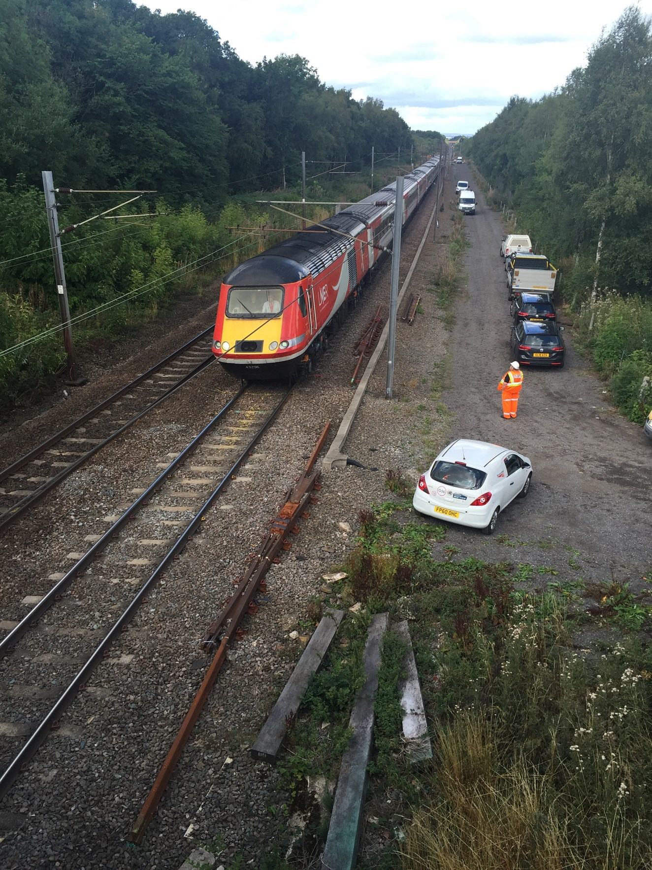 Update - services now resumed on track hit by tractor in Fitzwilliam, Wakefield: Train on track at Fitzwilliam