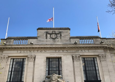 Flags fly at half mast at Islington Town Hall following the death of His Royal Highness The Prince Philip, Duke of Edinburgh