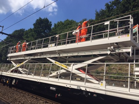 Installing new overhead wire at Brentwood