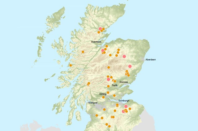 Bird of Prey Map - List: Bird of Prey Poisoning Incidents Scotland 2009-2013