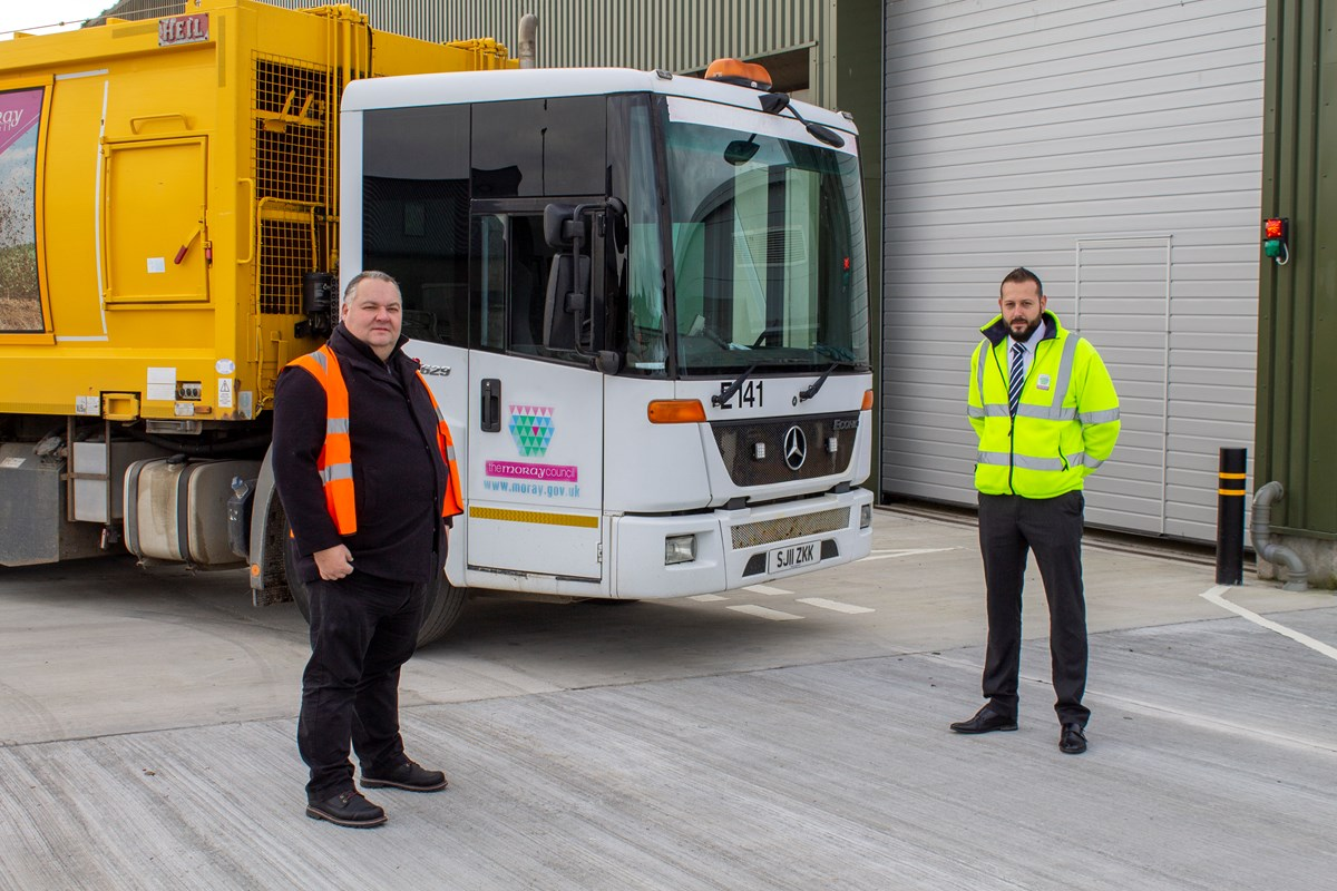 L-R Cllr Graham Leadbitter and Moray Council's Waste Manager, Mike Neary