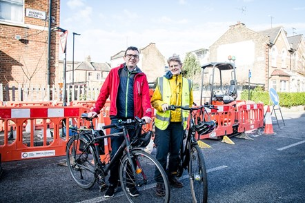 Cllr Champion (right) and Will Norman (left) with their bikes at the northern section of the Cycleway in March 2020