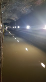 Fulwell Drainage works: once the ballast had been removed, the level of the water was made clear