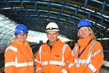 (l-r) Janice Crawford, Regional Director of Infrastructure Projects at Network Rail; Mark Carne, Chief Executive of Network Rail; and Becky Lumlock, Route Managing Director at Network Rail, joined engineers on site at Waterloo over Christmas