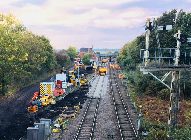 Signalling upgrade of the Wherry lines continues with track works at Brundall junction: NYL Reedham Jct 1