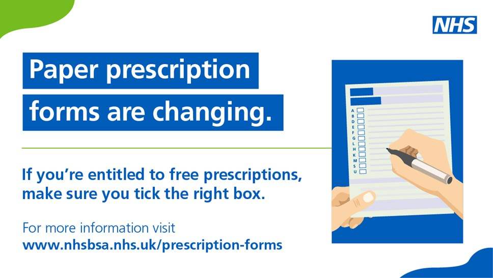 Updates to the FP10 NHS Prescription form: Social media image: Paper prescription forms are changing