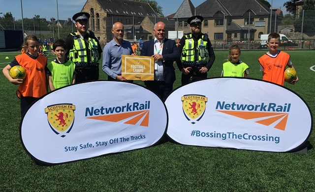 Safety is the goal for Network Rail and Scottish FA football camps: 2 July Falkirk Camp Launchsmall