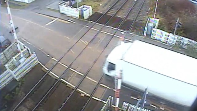 Still from CCTV footage of the level crossing incident in Hartlebury