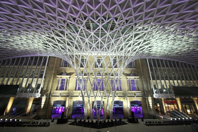 King's Cross station funnel at night