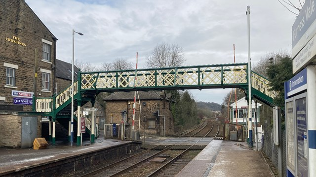 Wide shot of completed Furness Vale footbridge
