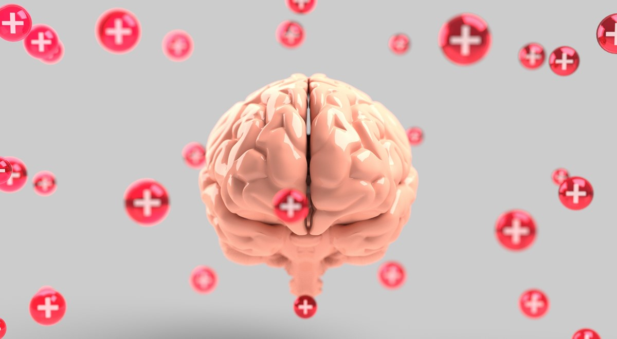 mental-health brain: Image of a brain with red crosses symbolising mental health , copyright free