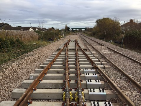 Rhyl track upgrade work completed last year as part of the North Wales Railway Upgrade Project