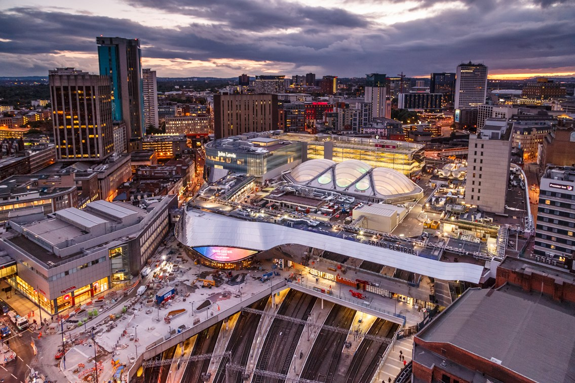 Birmingham New Street at dusk: Photo courtesy of Ross Jukes Photography - www.facebook.com/rossjukesphotography