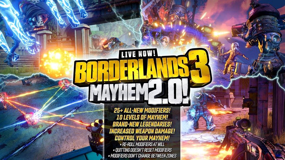 Borderlands® 3 End-Game Overhaul and New Seasonal Event Available Now: BL3 MAYHEM2.0 INFOGRAPHIC 1920X1080
