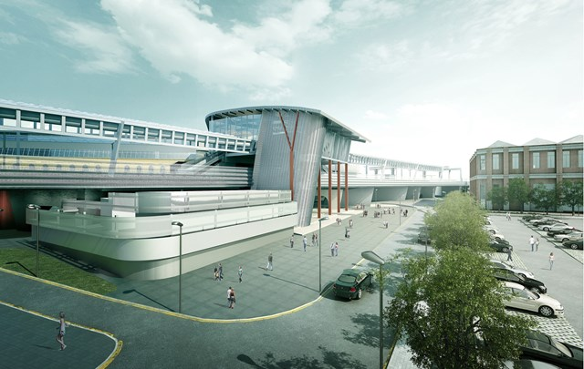 An artist's impression of additional platforms and lines at Manchester Piccadilly station