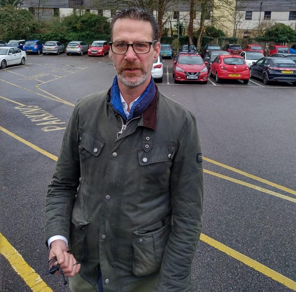 Cllr Toby Morris at Woodford Way car park 2