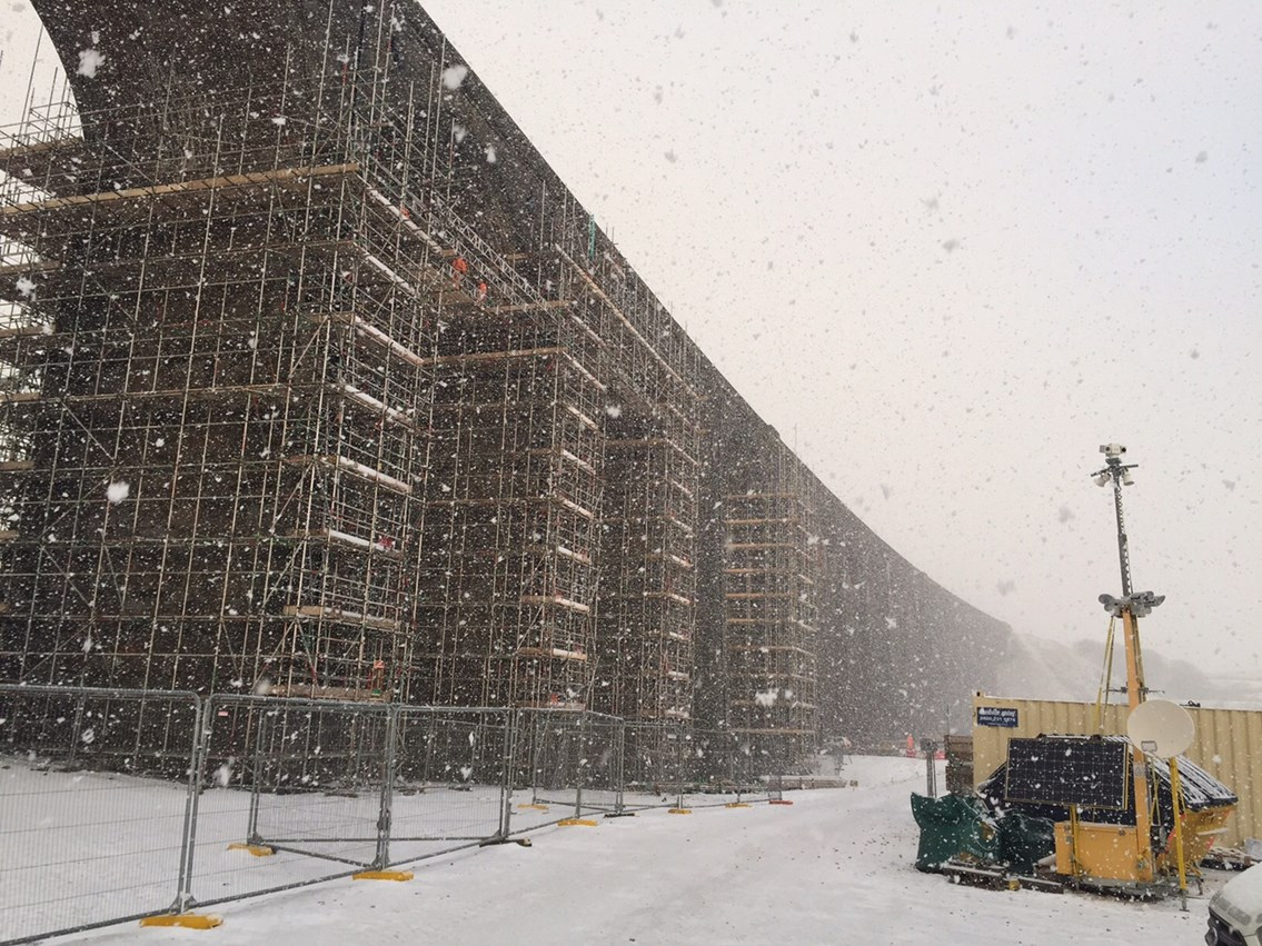 Ribblehead viaduct during blizzard from Network Rail compound - Feb 2021