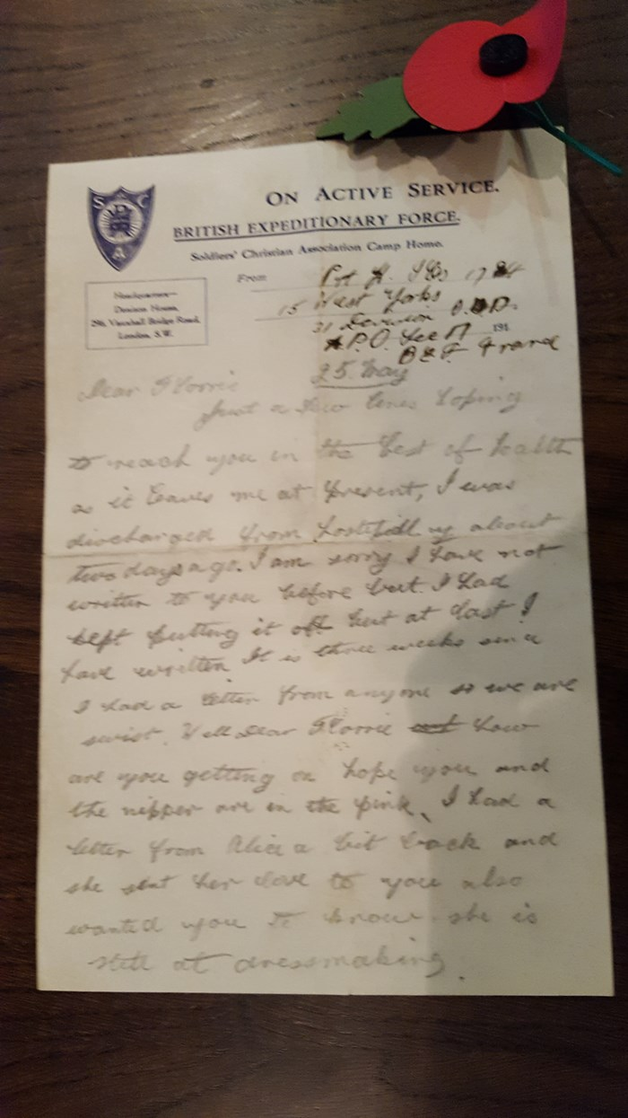 Object of the week- teenage soldier's letter: 20171109-122441.jpg