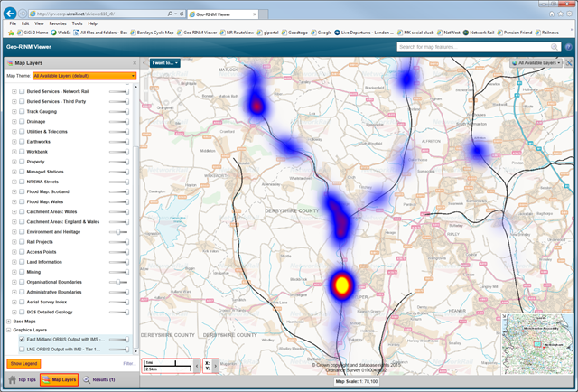 A heatmap shows engineers potential problem areas: Offering Rail Better Infomation Service (ORBIS) tree database screenshot