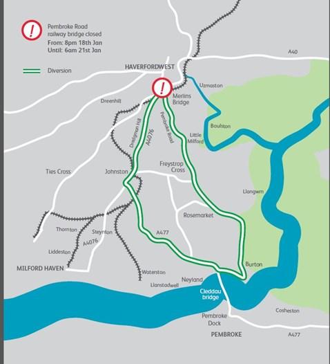 Pembroke Road diversion map 2