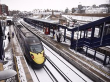 Class 395 in snow at Gravesend 2