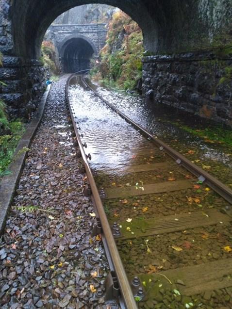 Inside the Blaenau Ffestiniog tunnel