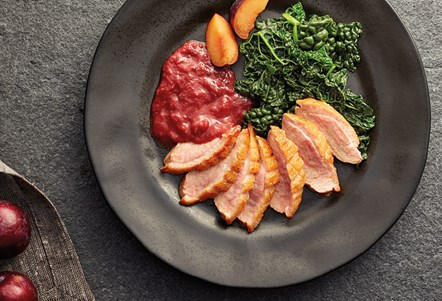 Duck breast with spiced Denbigh Plum sauce recipe