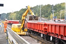 Track replacement work takes place at Fareham, Hampshire, October 2016 [1]