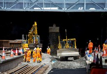 EGIP Queen Street tunnel June 3 2016- new ballast being laid as project reaches half-way