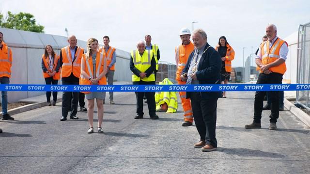 Ribbon cutting at opening of new Siddick bridge
