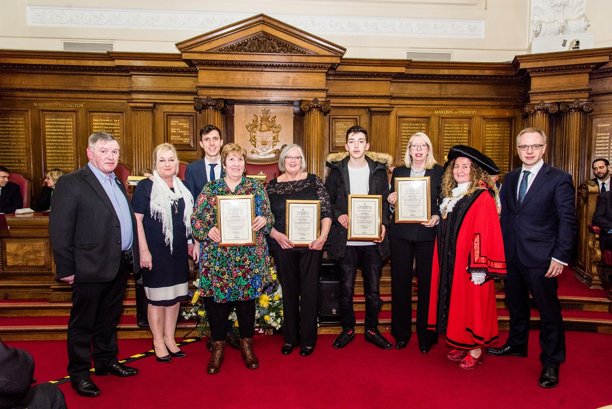 The 2018 winners of Islington's Civic Awards and the Ben Kinsella Award George and Debbie Kinsella, the parents of Ben Kinsella; Ramzy Alwakeel, editor of the Islington Gazette; civic award winner Linda Brown; civic award winner Kathy Green; Ben Kinsella award winner Artur Ahmati; civic award winner Rosey Lyall; Cllr Una O'Halloran, the Mayor of Islington; Cllr Richard Watts, leader of Islington Council