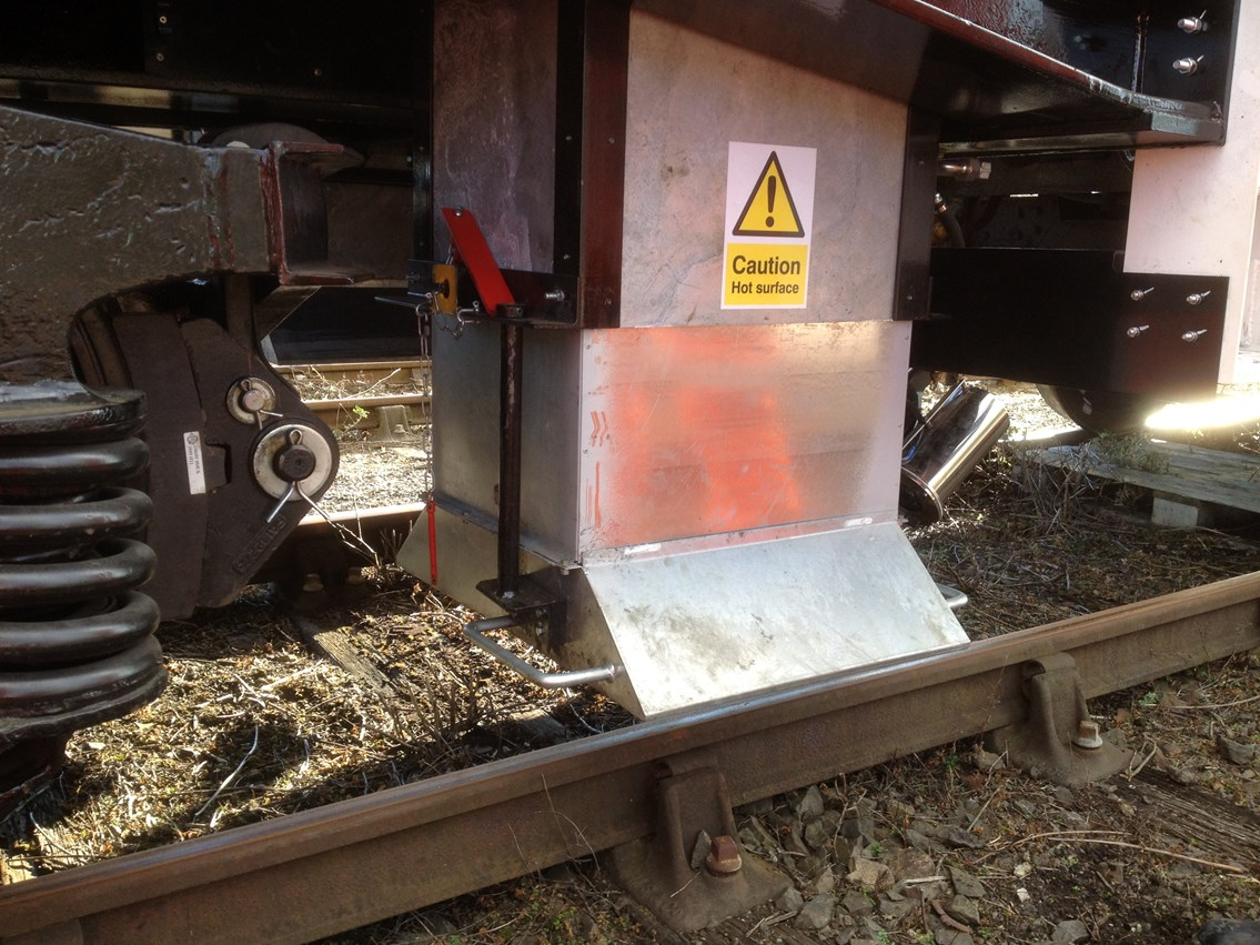 Hot air blower used to defrost tracks and junctions: winter weather. Snow