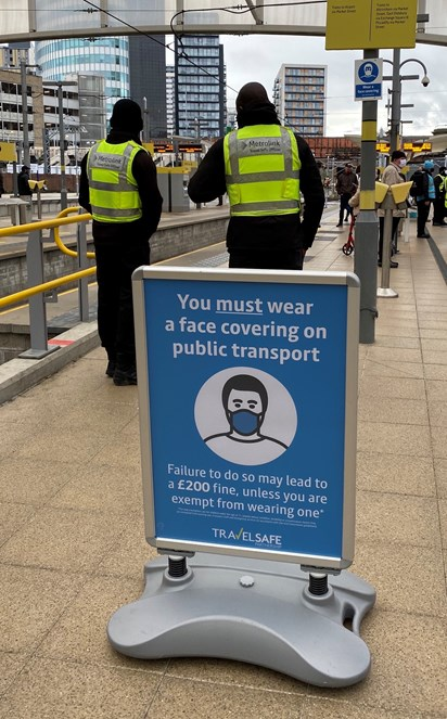 Vic DOA3: TravelSafe's Partnership staff stood on the Metrolink platform at Victoria during their 50th day of action targeting face covering compliance.