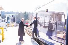 HRH The Duke of Kent arrives at Rochester station