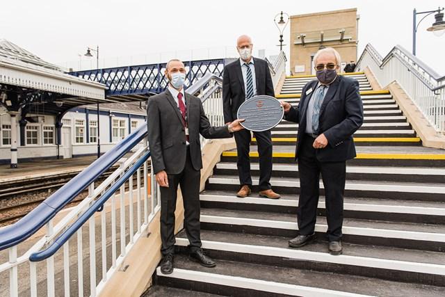 Heritage award plaque unveiled at Stirling station: LtoR Alastair Macfarlane Network Rail John Macarthur MD Story Scotland Theo Steel Chair NRHA