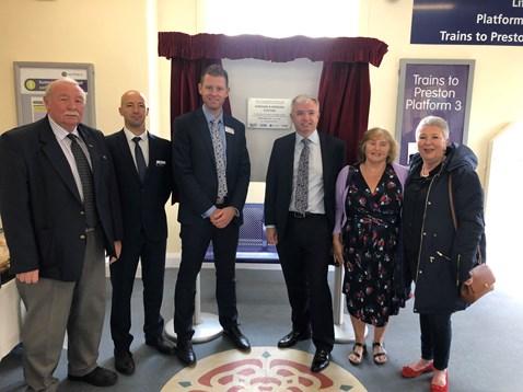 L-R Cllr Tony Ford, Geoffrey Jerome - Northern, Andrew Morgan - Network Rail, Mark Menzies MP, Cllr Linda Nulty, County Cllr Liz Oades