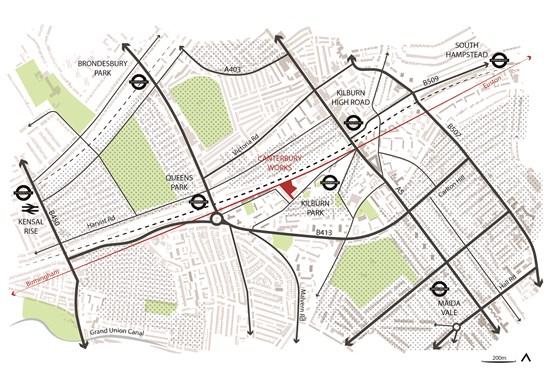HS2 Canterbury Works-Context Diagram October 2020: Credit line: © HS2 Ltd / Skanska Costain STRABAG jv (Map Canterbury Works, SCS Railways, Arup) Internal Asset No. 19286