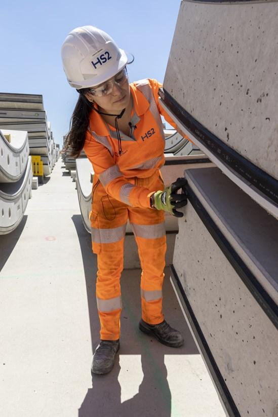 Worker testing the Chilterns TBMs pre-cast tunnel segments: Credit: HS2 Ltd
