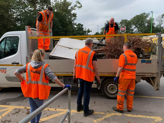 Truck filled with rubbish after Bletchley station volunteer day