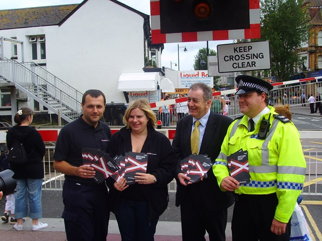 Paignton Level Crossing Awareness Day: L-R: Chris Drayton (Network Rail), Kirsty Anderson (Network Rail), Adrian Sanders MP, BTP