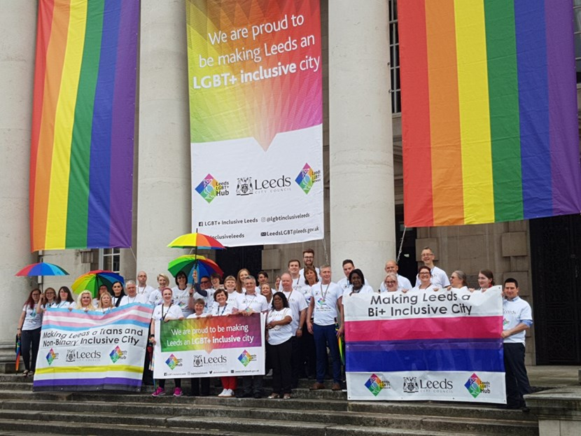 Leeds City Council marks 15 years since the first Leeds Pride: Leeds City Council Pride photo op