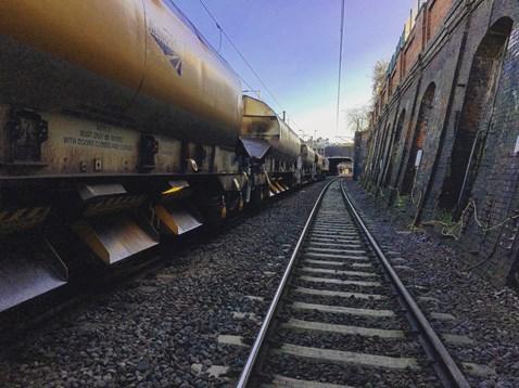 A ballast train sits at Kentish Town during sab track renewal on 28 December 2017
