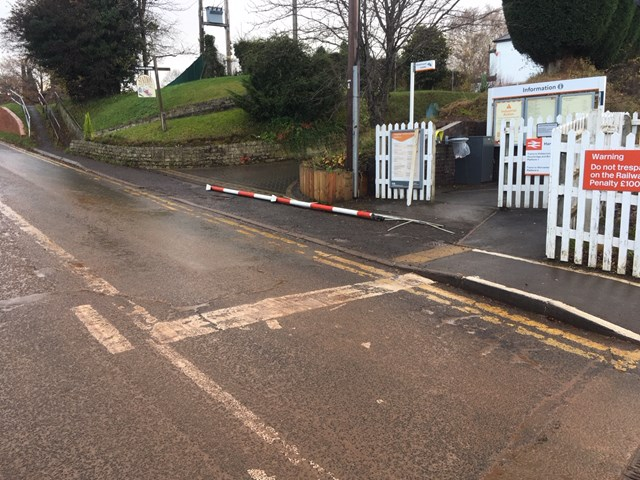 The level crossing in Hartlebury which was damaged just before 10am on November 22 2019