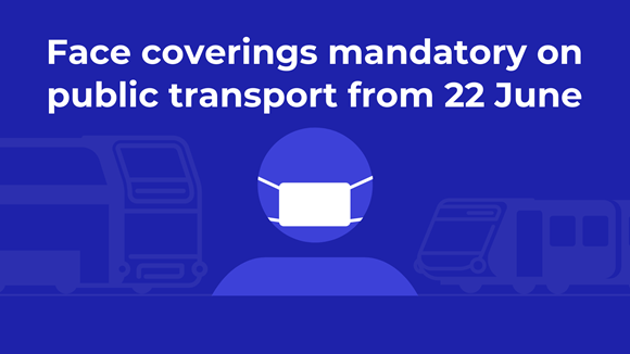 Face coverings mandatory on public transport from 22 June: Face coverings graphic