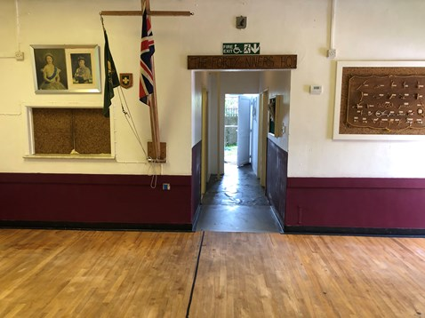 The much-loved Scout Hall has been decorated in the colours of the group's neckerchief