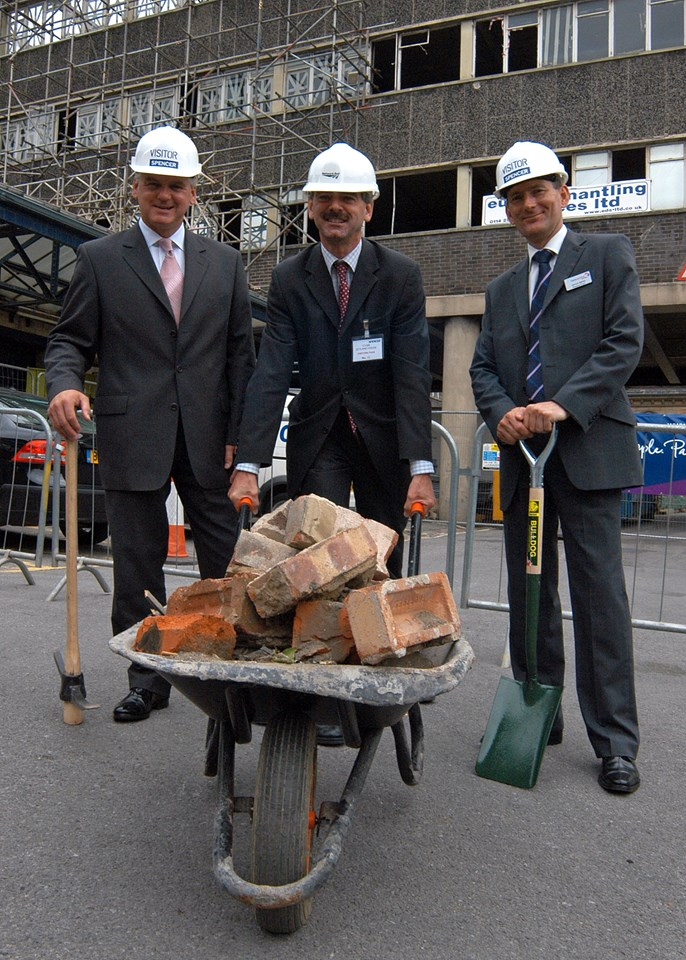 Zetland House demolition, August 2006: Left to Right: Ray Mallon, Mayor of Middlesbrough; John Pengelly, Commercial Property Manager – Network Rail; and Vernon Barker, Managing Director, First TransPennine Express at the demolition of Zetland House, Middlesbrough.