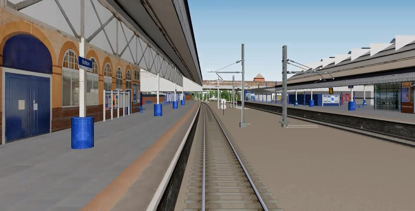 Passengers reminded to check before they travel this Saturday as 16 days of intensive work starts at Bolton station: Bolton station CGI still