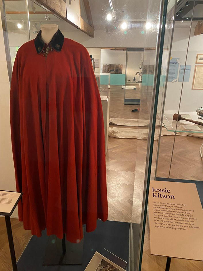 Leeds City Museum 200: Robe worn by Jessie Kitson, the first woman to be Lord Mayor of Leeds. She was also one of the first women magistrates.