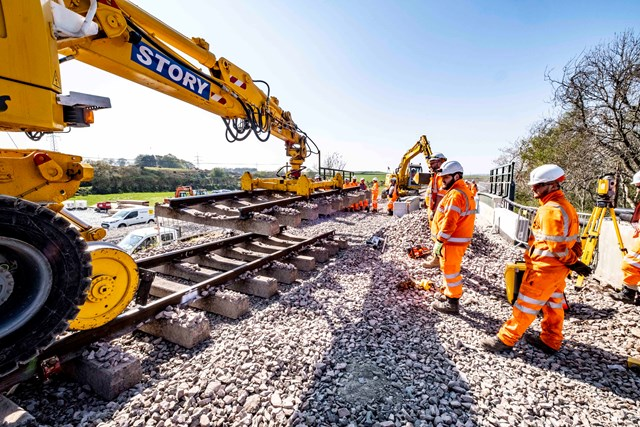Passengers reminded to check before they travel over both May bank holidays: Laying new track on Dalwearie Bridge, Kintore